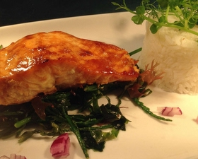 Teriyaki Salmon, Fragrant Jasmine Rice, Dressed Seaweed & Samphire